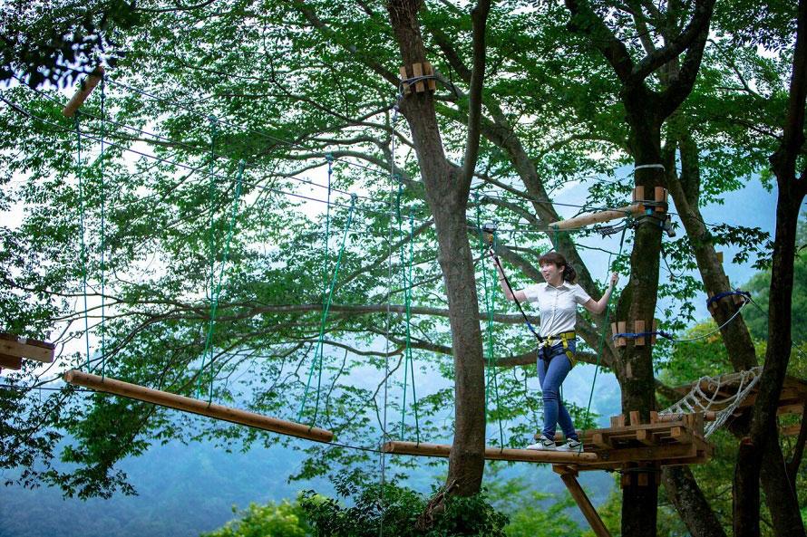 ハーネスと呼ばれる特殊ベルトを付けて、木の上に組まれた「シーソー」や「セキブリッジ」などのアイテムを渡りながら進む。地上からの高さは5mだ。