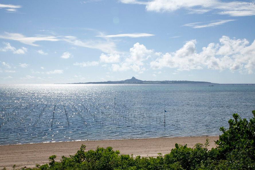 並木道の木立の間からは青い海が見える。遠く望むのは伊江島。※写真提供:沖縄観光コンベンションビューロー
