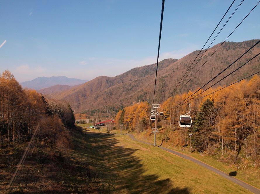 ロープウェイは全長2500m、高低差600mの8人乗り。9月下旬~10月中旬は紅葉が見られる。