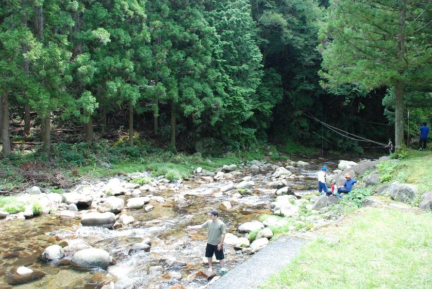 国道151号に沿って流れる坂宇場川は、長野との県境付近を源流とする。