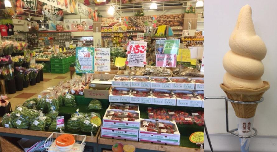 「はなまる市場」は「食のテーマパーク」といわれるほど、加工品から野菜、果物まで様々な南房総の食が揃う。南房総の特産品、ビワを使った人気の「枇杷ソフトクリーム」は380円(税込)。