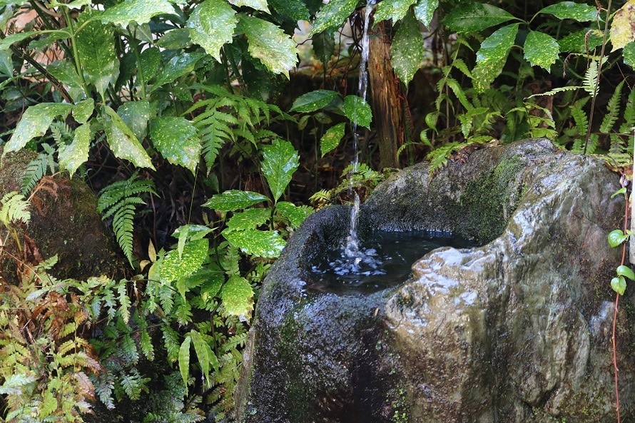 鳴滝の天恵水は「おおあさ鳴滝露天温泉」駐車場前の花崗岩層から湧き出したもので、取水も可能。