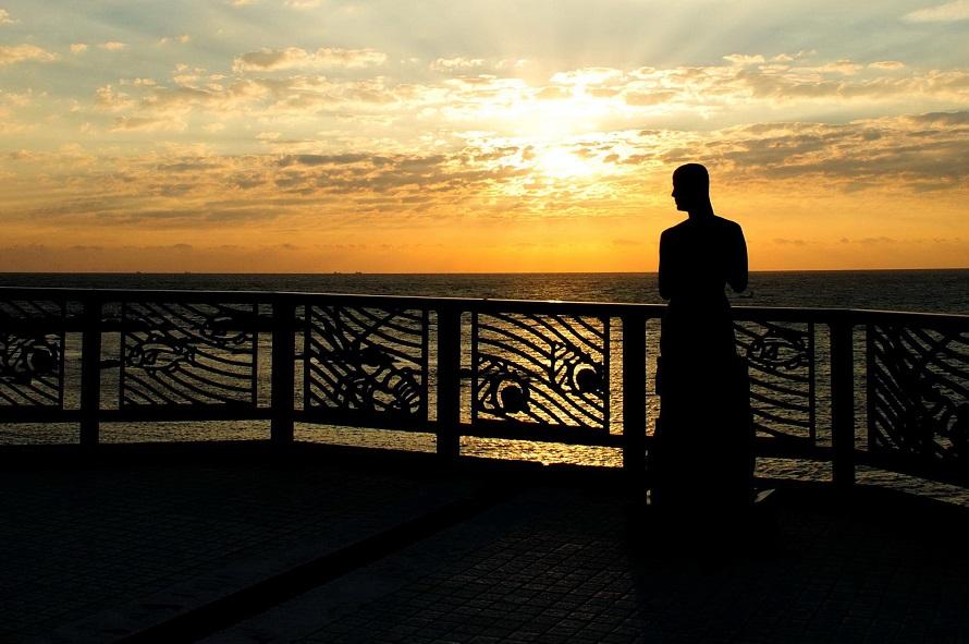©南房総市太平洋をバックに、日の出や夕焼けを一望できるビュースポット(写真は日の出の光景)。