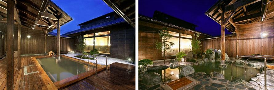 写真左:星の森(ヒノキ露天風呂)、写真右:月の石(岩露天風呂)。週替わりで男女入れ替えとなる。