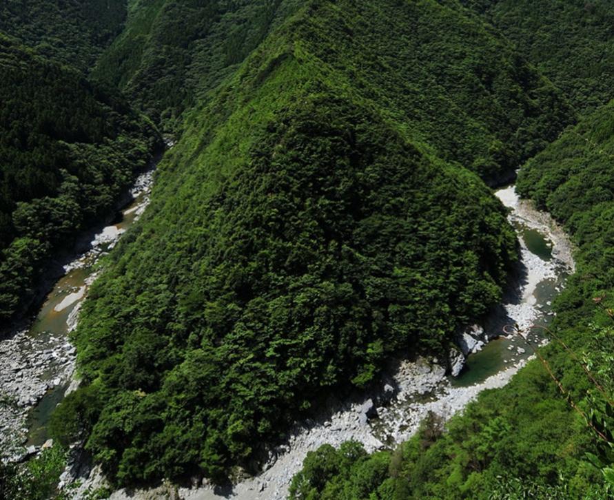 「ひの字渓谷」は、西祖谷の祖谷街道沿いにある祖谷渓の通称。