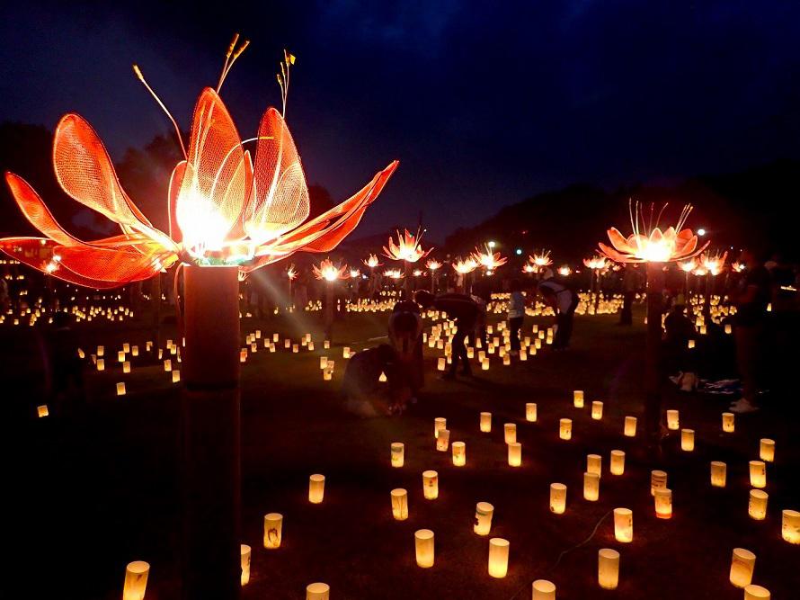日中の彼岸花祭りに合わせ、赤い彼岸花をイメージした「光の彼岸花」の演出も。