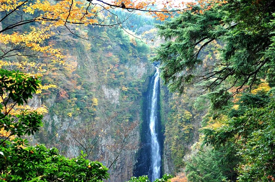「震動の滝展望所」から見た「震動の滝・雄滝」はダイナミック。「日本の滝百選」に選ばれた絶景を楽しもう。