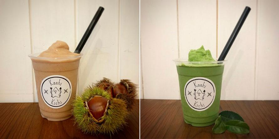 秋にぴったりな和栗のスムージー800円(税別/左)。挽きたて抹茶のスムージー500円(税別/右)。特上抹茶のスムージーは700円(税別)。