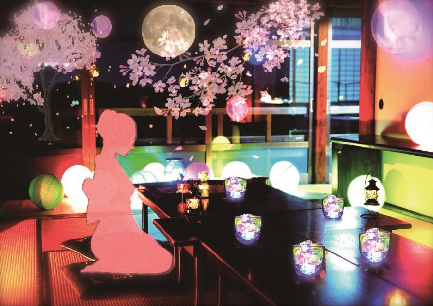 写経場は期間中、喫茶室として「幻桜花見の宴」の場に変身。