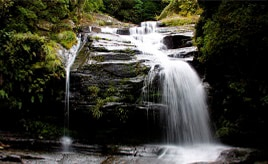 滝つぼのない、水しぶきが豪快な滝へ!木陰が多い清流で凉を感じよう 長崎県西海市