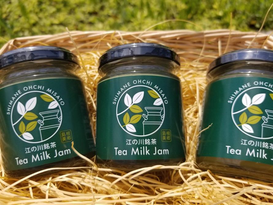 「産直市みずほ」で販売中の「ティーミルクジャム」864円(ひと瓶120g・税込)。「江の川銘茶」という香り高い緑茶茶葉と邑南町にある坂根牧場の生乳を使用している。