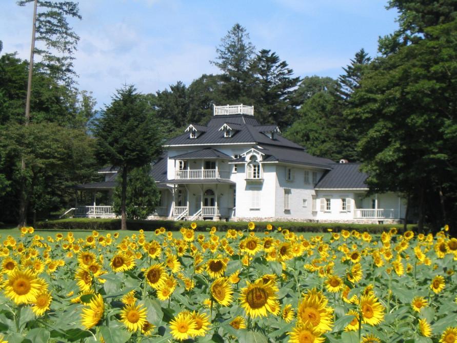 青木邸の前には、季節の花々がきれいに咲くハンナガーデンが広がる。前庭ではコンサートが行われることもある。