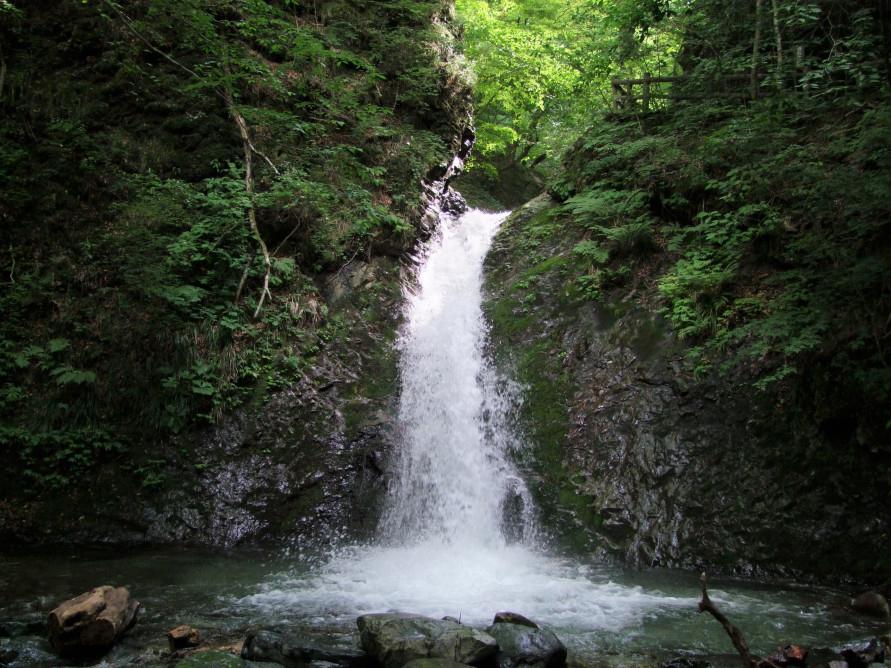 滝の近くまで行くことができ、流れ落ちる滝の水音もよく聞こえる。