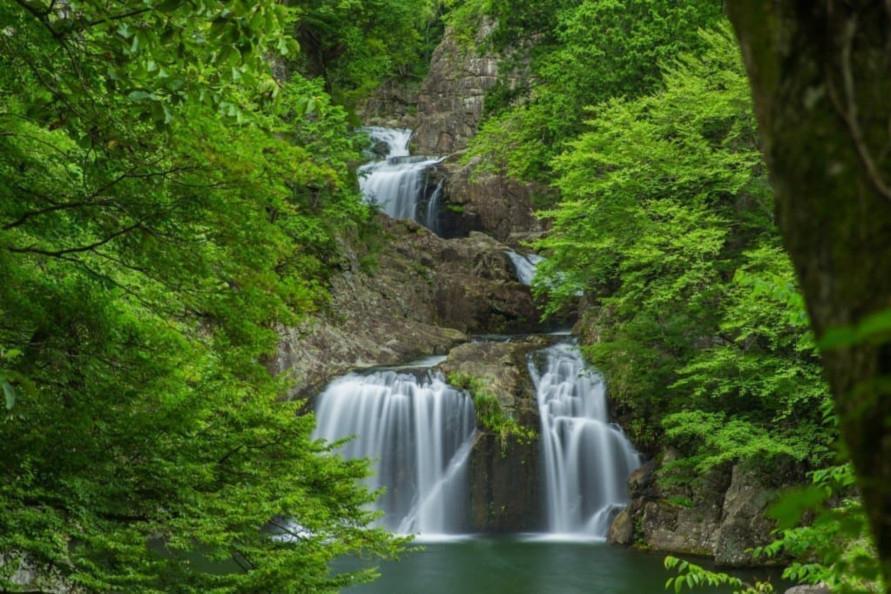 赤そばの里の近くにある三ツ滝は、国の特別名勝に指定された三曲五段の滝。