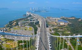 絶景ドライブルート 道路と鉄道の上下二層の長大橋梁群 岡山県倉敷市