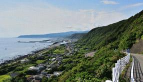 絶景ドライブルート 太平洋一望のつづら折りのある観光道路 高知県室戸市