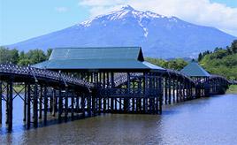 この美しいフォルムを見よ!鶴が舞う姿の木造三連太鼓橋にうっとり 青森県鶴田町