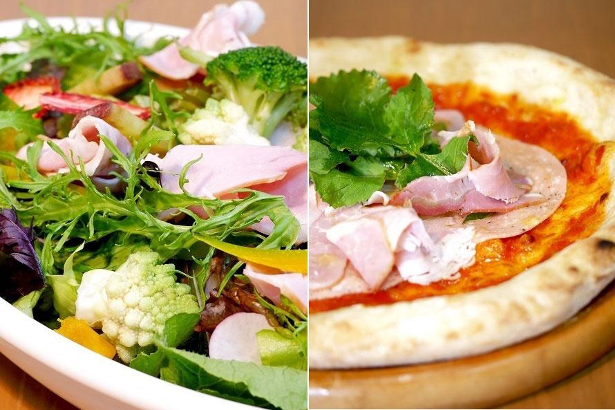 イタリアンレストラン「高原採れたてダイニング トラットリア オゴッツォ」は、地元の野菜や果物を使用。Ogozzoサラダ800円(写真左)、3種のミート山賊ピザ1300円(写真右)など
