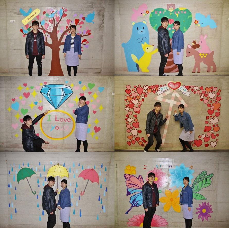 中には様々なデザインの壁画が!壁画のデザインは一般公募され、審査で決定されたもの。壁画と人が一体になることでアートとして完成される