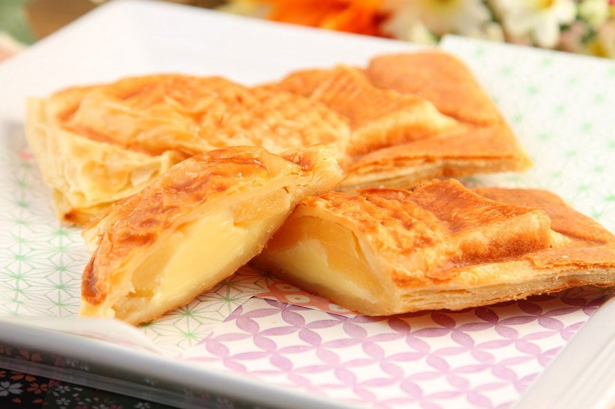 市原SA(下り)で人気のベーカリー「MIYABI」のパン生地を使った「たい焼き」350円(税込)~。外はサクッ、中はもっちりとした食感がたまらない。