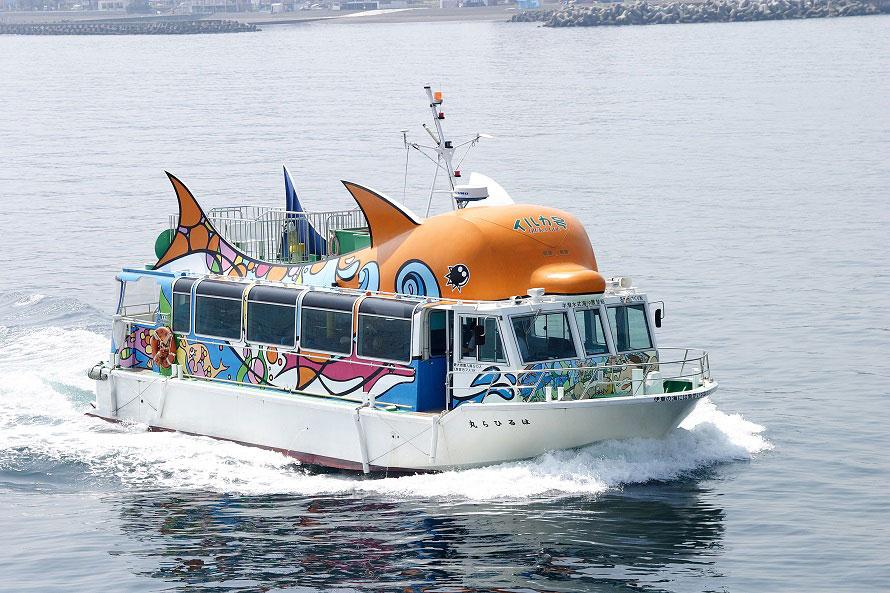 伊豆の海を満喫できる遊覧船も発着。イルカ型がかわいい「はるひら丸イルカ号」は半潜水式海中展望船になっているので、海中をのぞくことができる。乗船料は大人1600円、中高生1200円、小人800円。