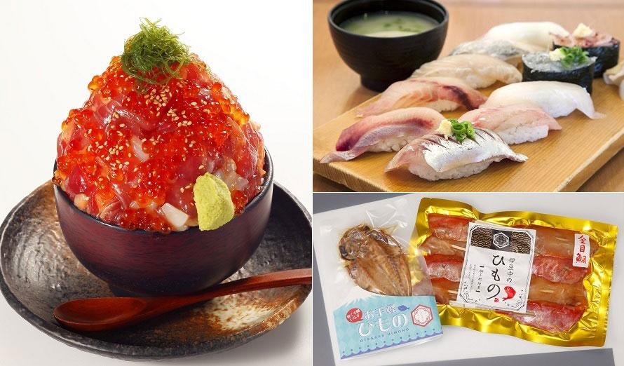 「伊豆高原ビール 海の前のカフェレストラン」のメニューは丼からイタリアンまで幅広い。おすすめは「漁師の漬け丼」2354円(税込)。伊豆漁港市場の鮮魚が食べられる食事処「伊豆太郎」では「近海地魚にぎり寿司」2180円(税込)をどうぞ。おみやげには、「伊豆中(いずちゅう)」の干物・珍味などが人気。