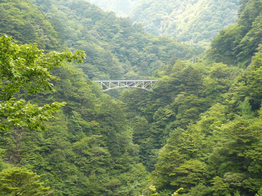 山奥に見えるのは「夢の吊橋」から歩いて20分ほどの場所にあるもうひとつの有名な橋「飛龍橋」。昔、森林鉄道のトロッコが走っていた橋で、現在は歩行者専用の遊歩道。橋上からの渓谷の眺めは素晴らしい。