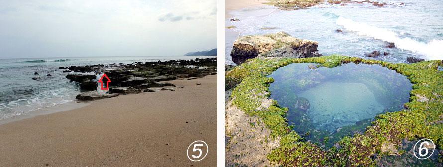 (C)龍郷町5:(写真左)林を抜けると海岸へ出る。海に向かって右側に見えている2つ目の岩場の矢印のあたりへ行ってみよう。6:(写真右)引き潮時にハート型に海水が溜まった「ハートロック」が出現!