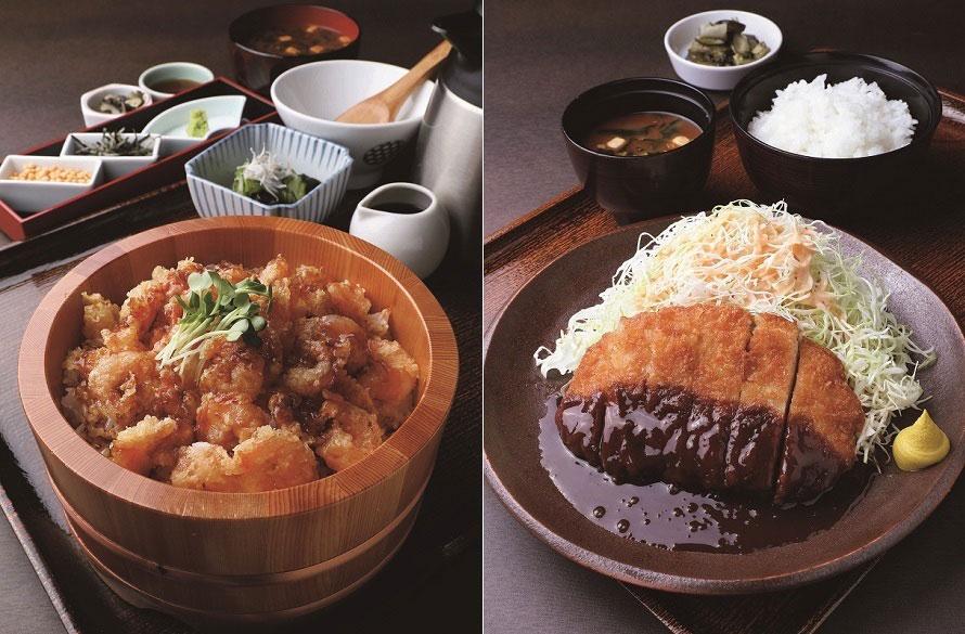 (左から)さまざまな魚料理が楽しめる「うお坐食堂」のおすすめは「海老天 ひつまぶし」1598円(税込)。東海3県の名物料理が食べられる「グリル『大那古や』」では、名古屋飯の定番「味噌カツ定食」980円(税込)などどうぞ。