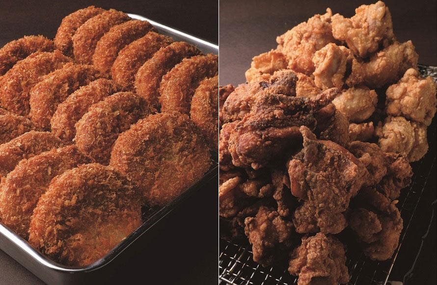 (左から)「ミートいとう」の「松阪牛コロッケ」1個250円(税込)。「唐揚げ・手羽先『三河鶏卵』」の「唐揚げ(足助の旨塩味・八丁味噌味)」6個400円(税込)など、テイクアウトやお土産にできるグルメも充実。