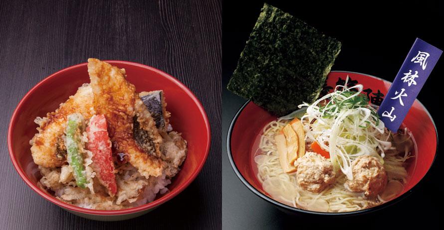 フードコート「長篠陣屋食堂」では、信長(味噌)、家康(鯛)、武田(塩)の武将の名を付けた代表メニューのほか、ご当地グルメも充実。(写真左から)家康公の好物とされる鯛の天ぷらを乗せた「家康 鯛天丼」1280円(税込)、さっぱりとした塩味の「武田の鶏塩らーめん」880円(税込)。