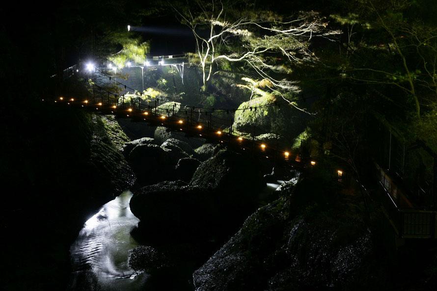 滝周辺でも、吊橋のイルミネーションや滝川のさざれ石のライトアップなどが楽しめる。