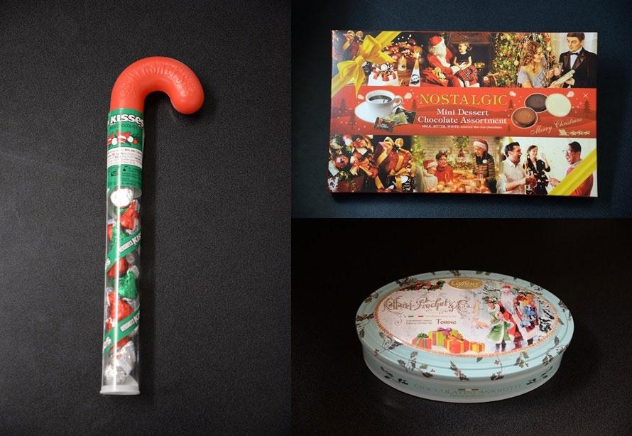 ショッピングコーナー「五億の鈴」では、クリスマスや冬季限定のグッズが充実しているので、要チェック。(左から)ステッキにチョコがつまった「クリスマスキスチョコケーン」648円(税込)、3種のチョコが楽しめる「XM.ミニデザートアソートチョコ30P」1296円(税込)、イタリアで有名なカファレルのチョコレート「ノッテサンタ18個入り」3240円(税込)。