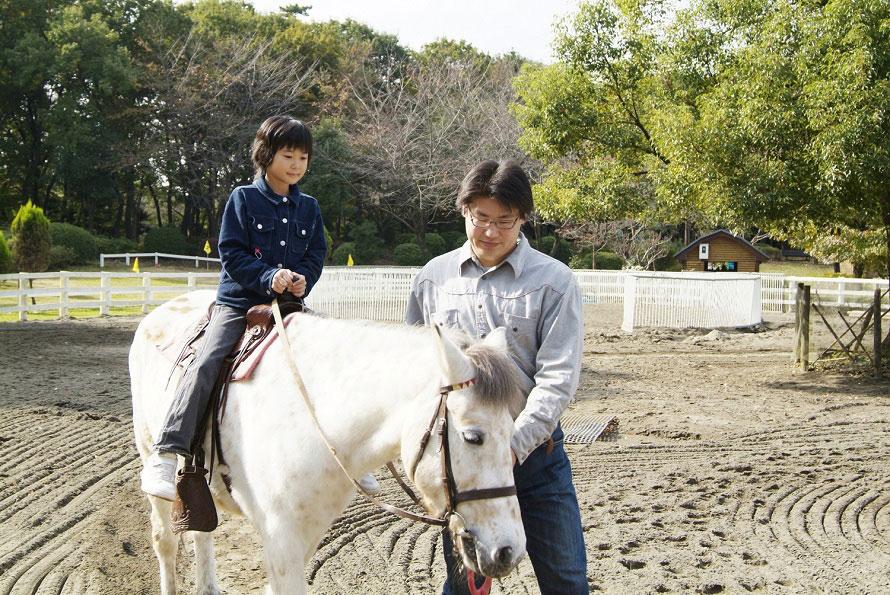 ワンパク王国内にある「ポニーの広場」。園内には4頭のポニーがいて、1周100円で乗馬体験ができる(1人で乗れる小学生までの子どもが対象)。