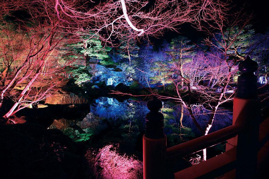 萌黄色や若竹色、なす紺、濃紅など日本の伝統色に照らし出される「七色の鏡の池」(写真は2017年の様子)。