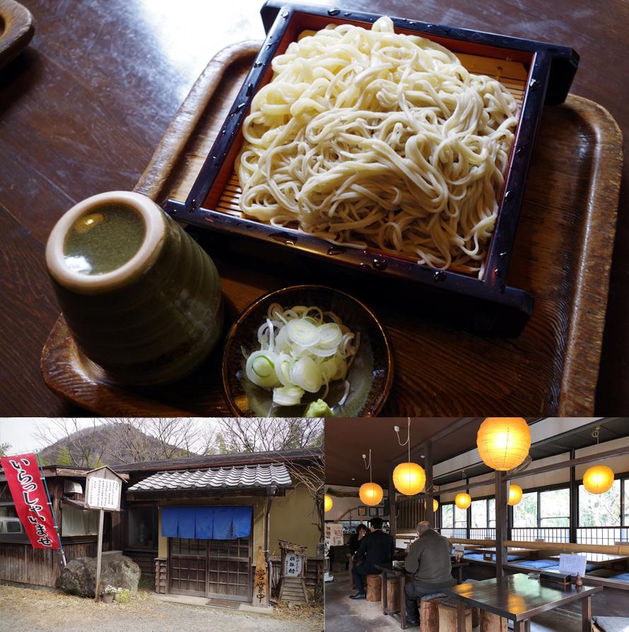 (上)写真は、「変わりうどんとそばの合もり」800円。(左下)昼どきは込み合うことが多いので、できれば時間をずらして行こう。(右下)木の温かみが漂う落ち着いた店内で、ゆっくり食事できる。