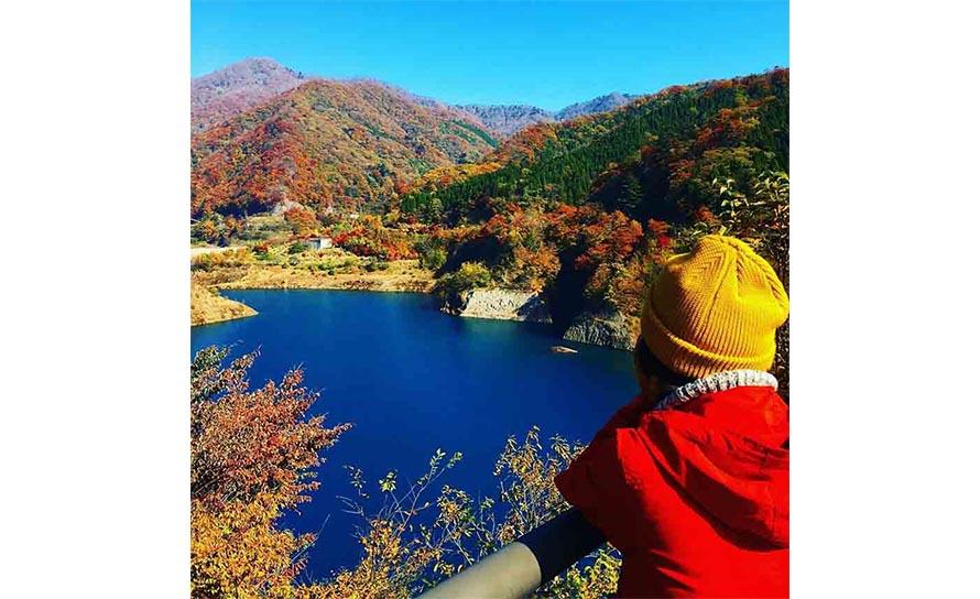 奥四万湖を囲むように広がる広葉樹林は、秋になると紅葉し、絶景を見せてくれる。