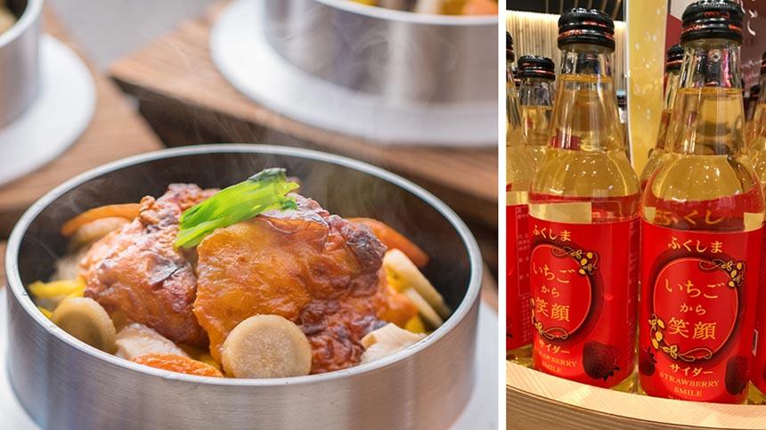 レストラン「だて食庵」の一番人気は、地元産伊達鶏を使った「伊達鶏釜飯」890円(税込)。伊達鶏の特徴である、独特の柔らかな歯ごたえを楽しもう。人気のお土産は、地元・伊達市霊山町産のイチゴ(とちおとめ)を使った「いちごサイダー」324円(税込)。