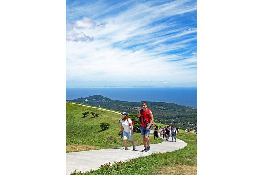 山頂にある遊歩道は1周が約1000m。景観を楽しんだり、草花を観察したりしながらのんびり歩こう。
