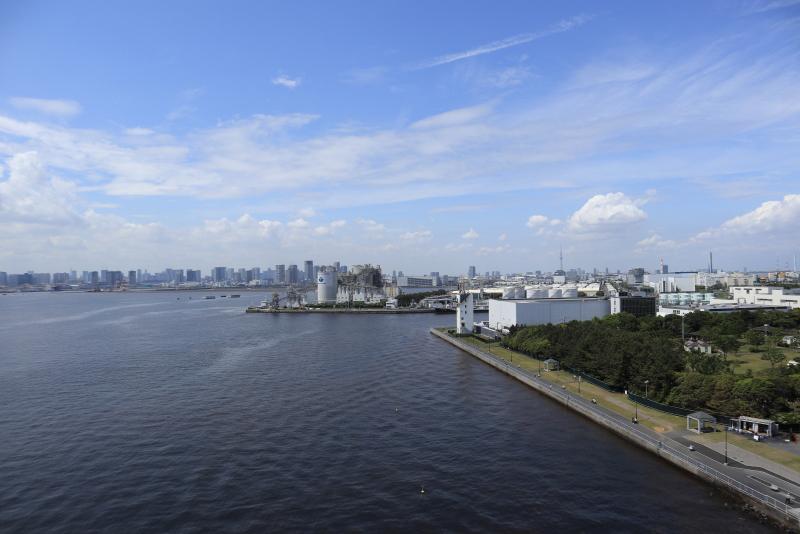 橋の上からの風景。歩道は北側(東京側)にあり、はるか向こうに東京スカイツリーも見える。