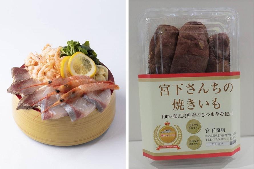 左)新鮮な海鮮メニューを提供するレストラン「Farm to Table TARUMIZU」のおすすめは「垂水極みスペシャル海鮮丼」1580円(税抜)。垂水で水揚げされた鮮魚を堪能できる。右)垂水大野地区特産焼き芋「宮下さんちの焼きいも」600g556円(税抜)をはじめ、農産物や特産品はお土産におすすめ。