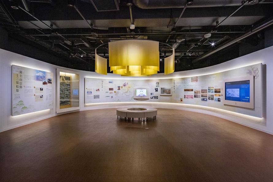 三保松原の歴史や文化、芸術について展示された1階の展示室。2階にも展示室があり、三保松原関連の書籍や松で作った楽器などを見たり触ったりすることができる。