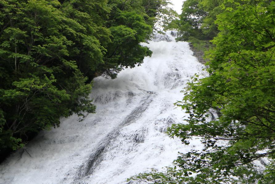 観瀑台から湯滝を見上げる。湯ノ湖から流れ出る水の迫力に圧倒される