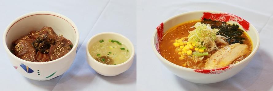 画像左)仙台名物「牛たん麦めし丼」1080円(税込)は、塩こしょうのみの味付けで、牛タンの味をダイレクトに味わうことができる。画像右)「仙台味噌ラーメン」750円(税込)は、中華コーナーの人気NO.1メニュー。菅生PAオリジナルの味噌を使ったスープが麺によく合う!