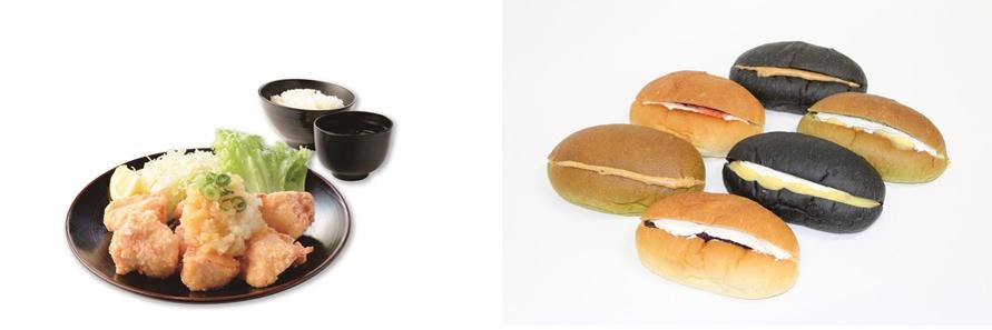 画像左)柔らかい国産若鶏の唐揚げをサッパリおろしポン酢でいただく「鶏三和」の「おろし唐揚定食」951円(税込)。画像右)「ポンパドウル」の三芳PA(下り)限定新商品「三芳酒種コッペ」270円(税込)。3種類の酒種パンに4種類のトッピングから選べる。