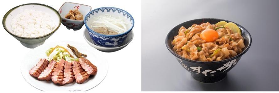 左)「牛たん炭焼利久」は、分厚い牛タンのほか、青葉餃子や白石うーめんなど宮城グルメが楽しめる。「牛たん極み定食」2494円(税込)は絶品。右)「伝説のすた丼屋」では、秘伝のニンニク醤油ダレがおいしい「すた丼」734円(税込)を試そう。
