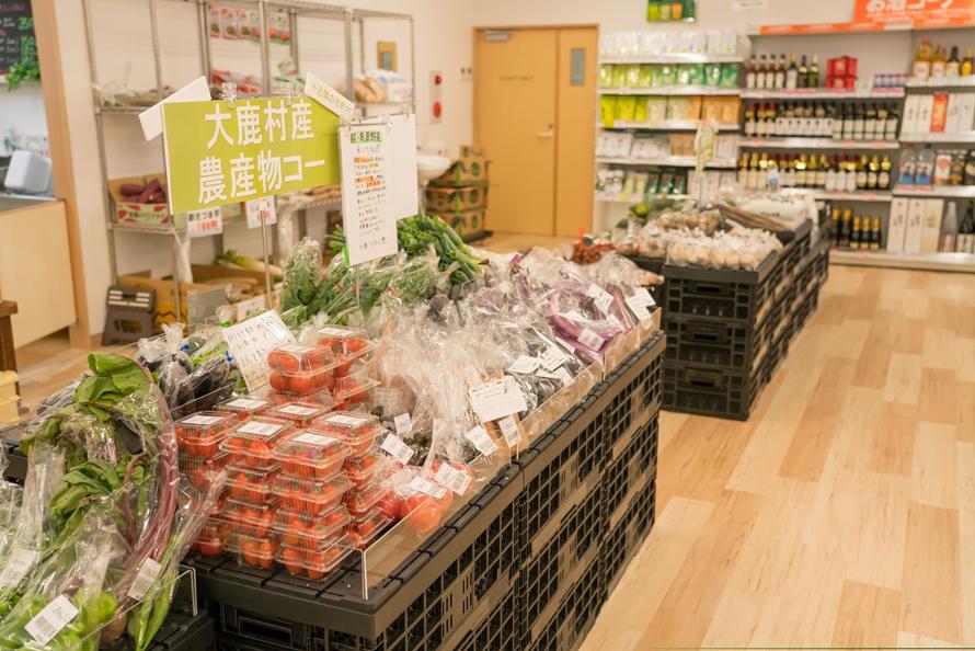 大鹿村の特産といえば、ブルーベリー、鹿肉を使った加工品など。変わりダネの野菜も多彩で、大根だけでも「からいね大根」や「からいね赤大根」、「ビタミン大根」などいろいろそろう(時季による)。
