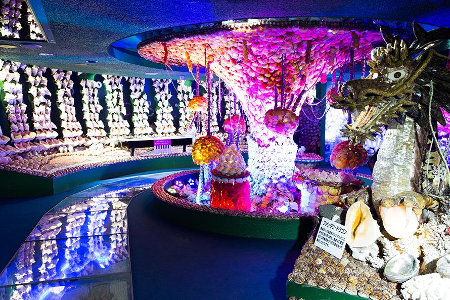 世界110カ国から集めた5500万個もの貝で作られたテーマパーク。4カ所のミニシアターを見ながら海底冒険をする「歩く映画館」で、2万個の青色LEDのイルミネーションと音、映像がファンタジックな世界を創り出している。タカラ貝のお宝山や願貝(ねがい)絵馬など、新スポットも楽しい。
