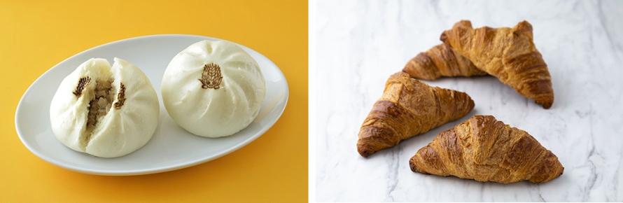 左下)テイクアウトフードなら、上里産小麦と姫豚を使った絶品の肉まん「こむぎっち肉まん」390円(税込)をどうぞ。右下)「クロワッサン」280円(税込)はバターの芳醇な香りがたまらない人気の一品。