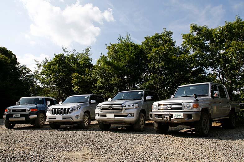 国内販売されているラダーフレーム構造のトヨタのSUV(一番右のランドクルーザー70は限定発売で現在は海外のみ販売)